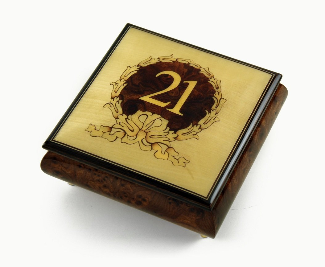 21st Birthday Centered in Gold Wreath Sorrento Hand Inlaid Music Jewelry Box - There is Love (Wedding Song)