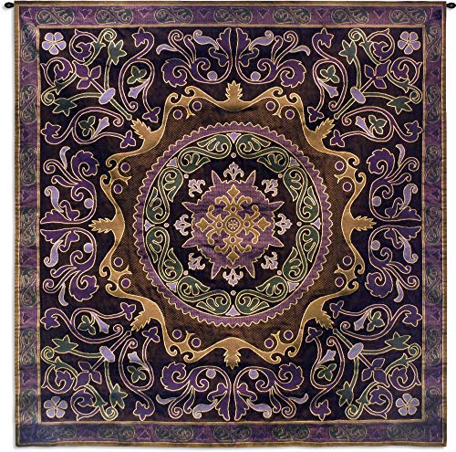 (Suzani Passion | Woven Tapestry Wall Art Hanging | Ornate Central Asian Patterned Tribal Textile | 100% Cotton USA Size 53x53)