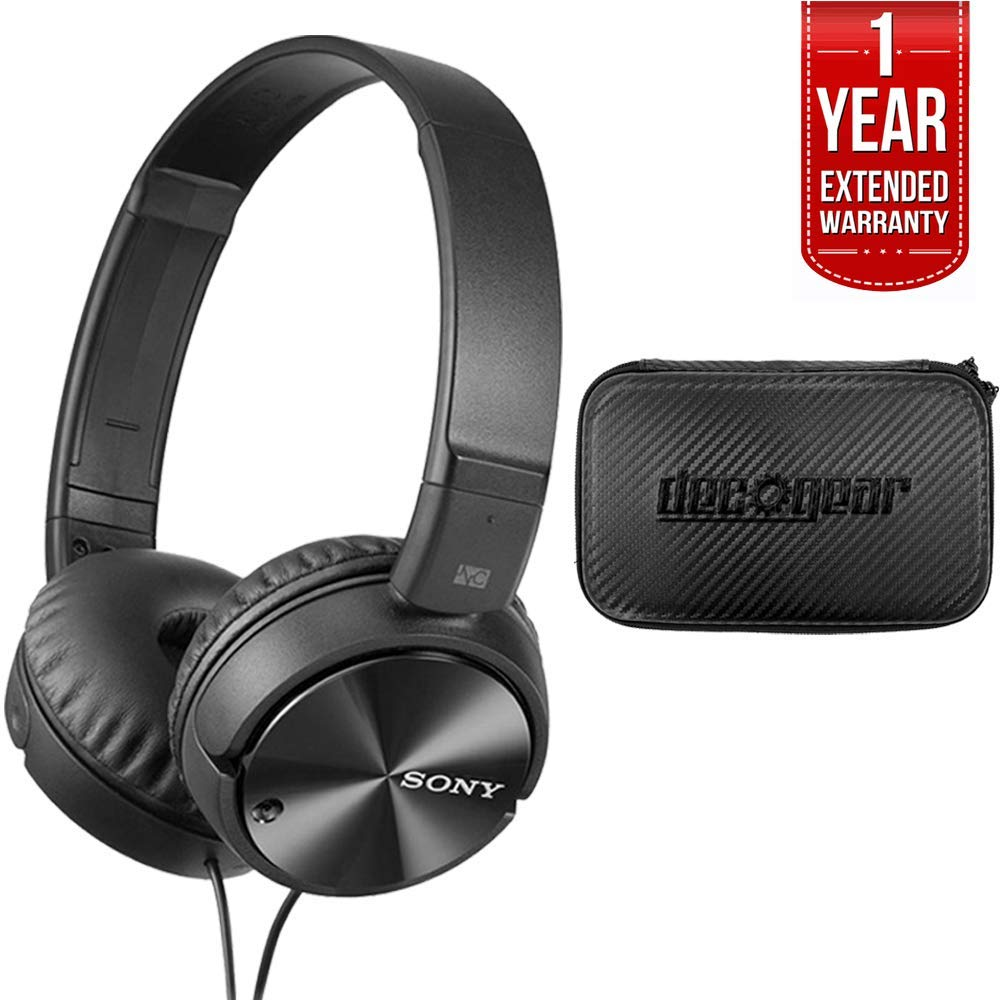 Sony Noise Cancelling Headphones, Deco Gear Hard Case & 1 Year Extended Warranty by Sony
