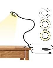 Lámpara de Lectura, Joly Joy Luz LED 5W con Clip Control por USB Recargable con 24 LEDs de 2 Modos de Luz & 5 Niveles de Brillo, Luz Ajustable Libremente para Estudiar Trabajar Leer Dibujar