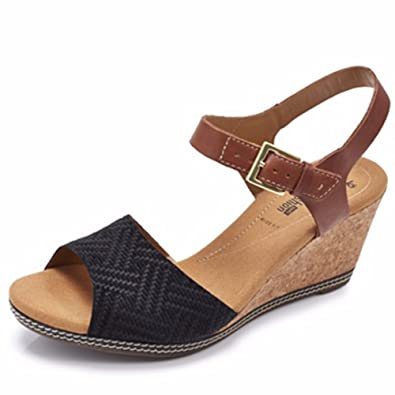 a677f7b4ac2b41 Clarks Helio Jet Wedge Sandal Wide Fit - Black Suede - UK 4 E   Amazon.co.uk  Shoes   Bags