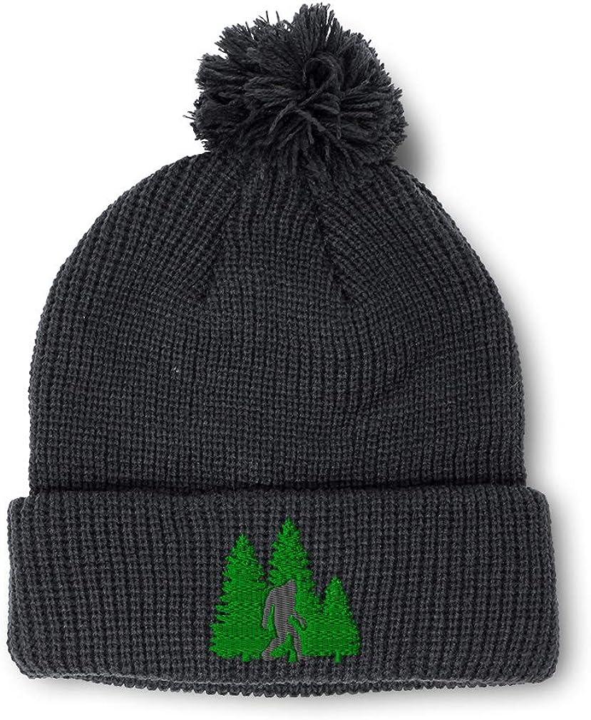 Custom Pom Pom Beanie Woods Bigfoot B Embroidery Acrylic