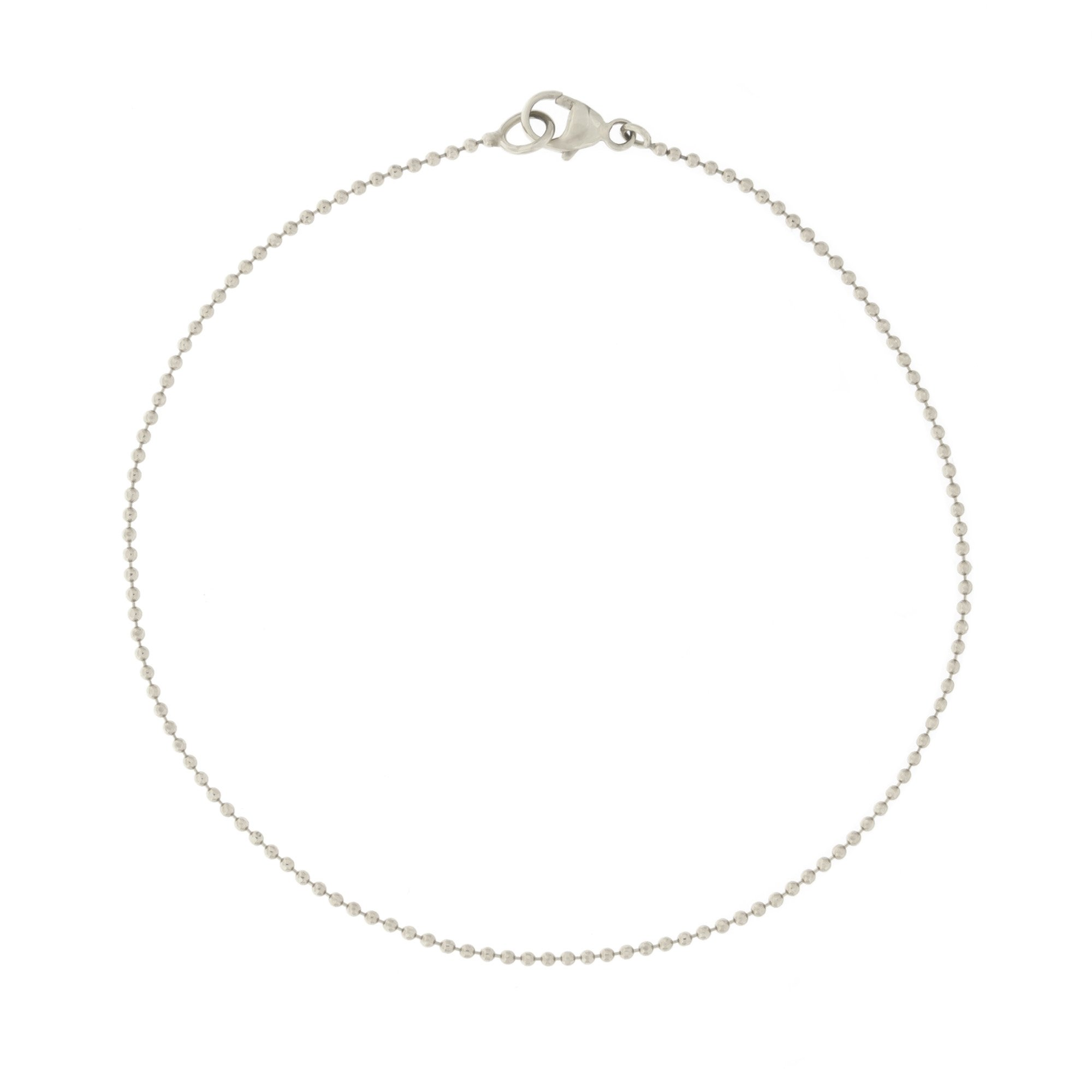 Automic Gold Solid 14k White Gold Chain Bracelet, 6''