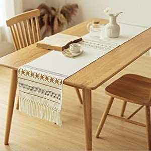 Wolala Home Table Runner with Tassels Fringed Plaid/Check Print for Dinner Parties,Dining Room/Outdoor,Hand Woven Cotton Table Runner Durable Machine Washable (14 x 72 inch, Geometric)
