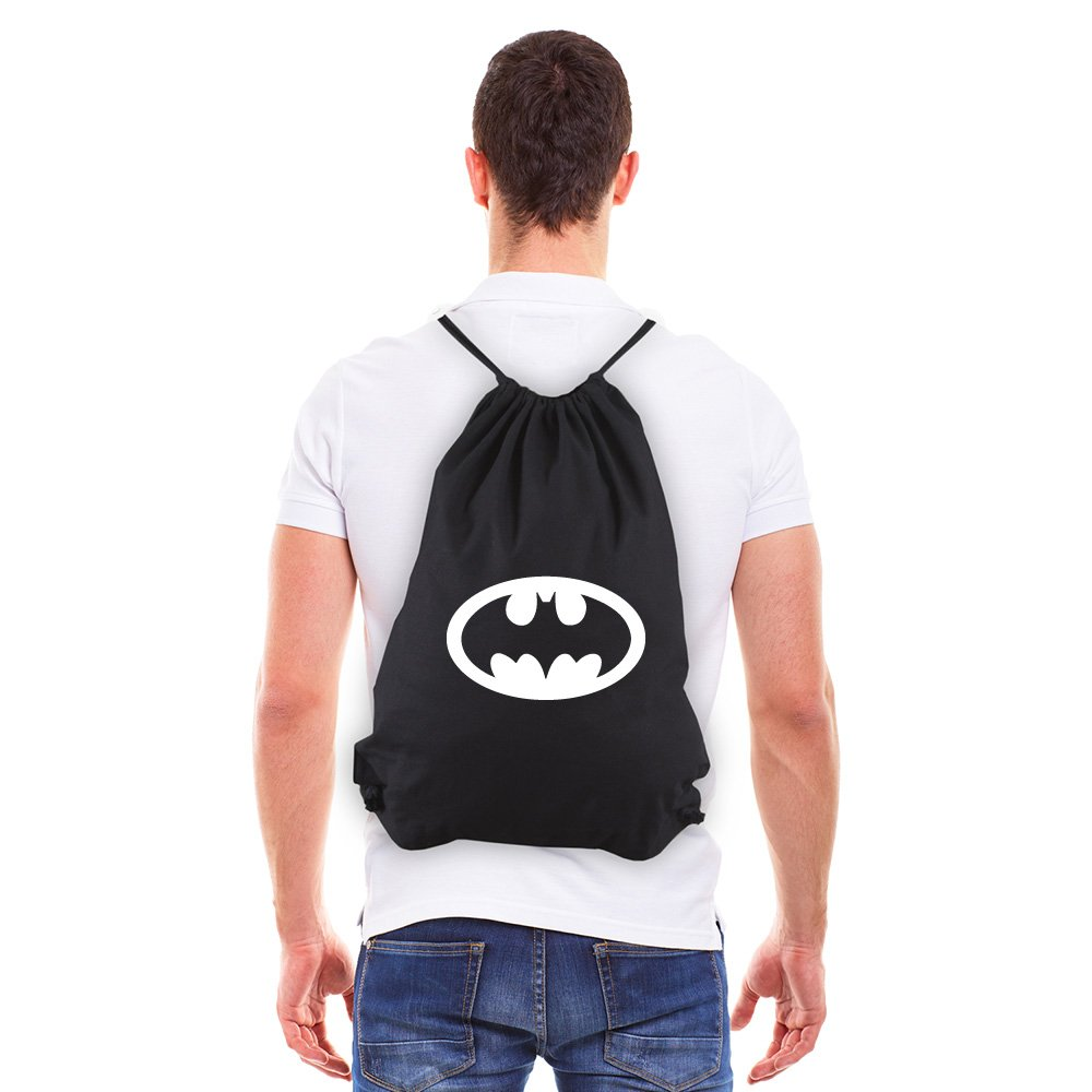Batman Bat Symbol Eco-Friendly Reusable Drawstring Bag 6 oz. Cotton Canvas Gym Bag Backpack Sack Pack for Shopping Sport Yoga