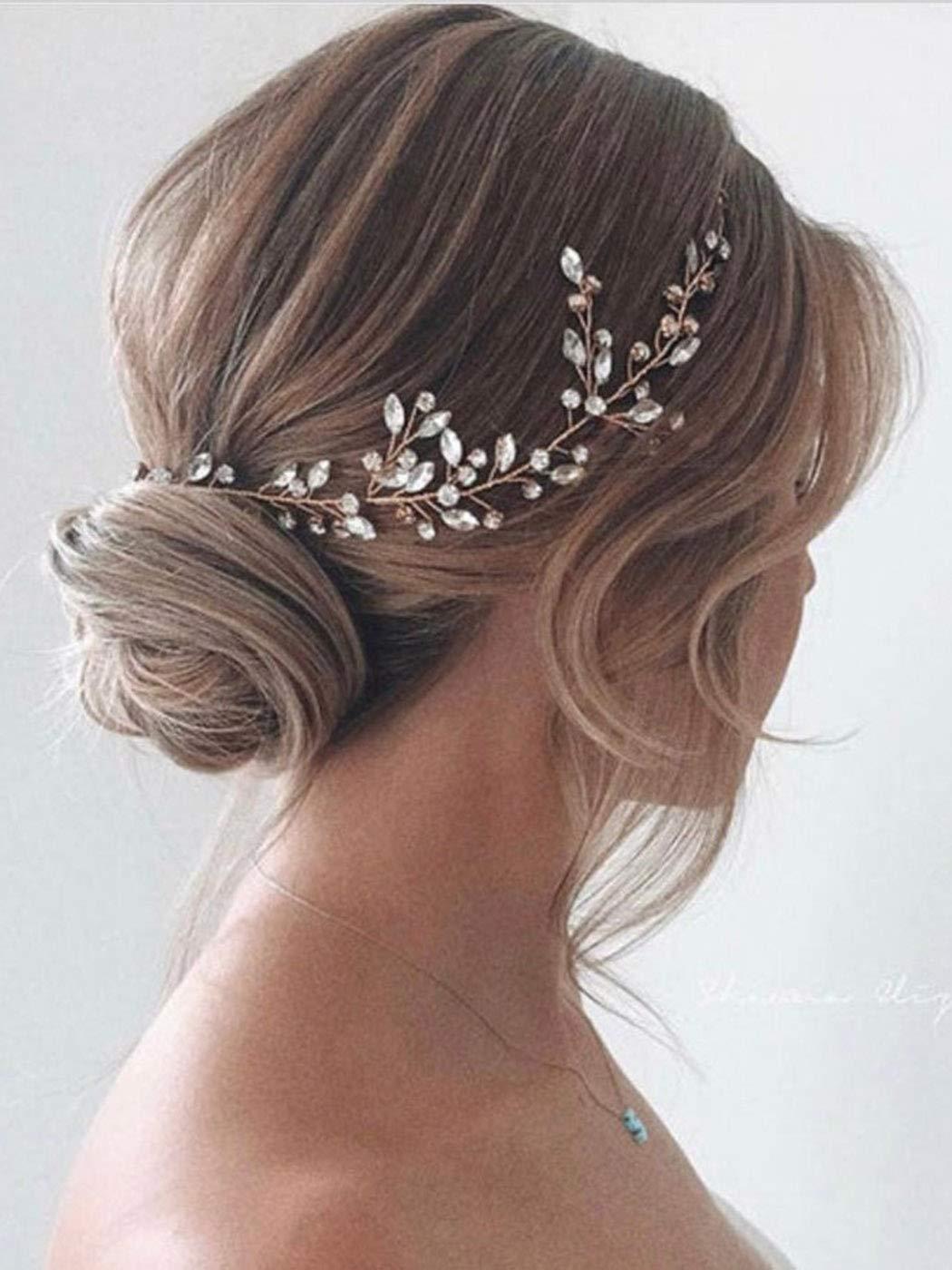 Amazon Com Jakawin Bride Crystal Wedding Hair Vine Silver Bridal Hair Piece Rhinestone Hair Accessories For Women And Girls Hv113 Beauty