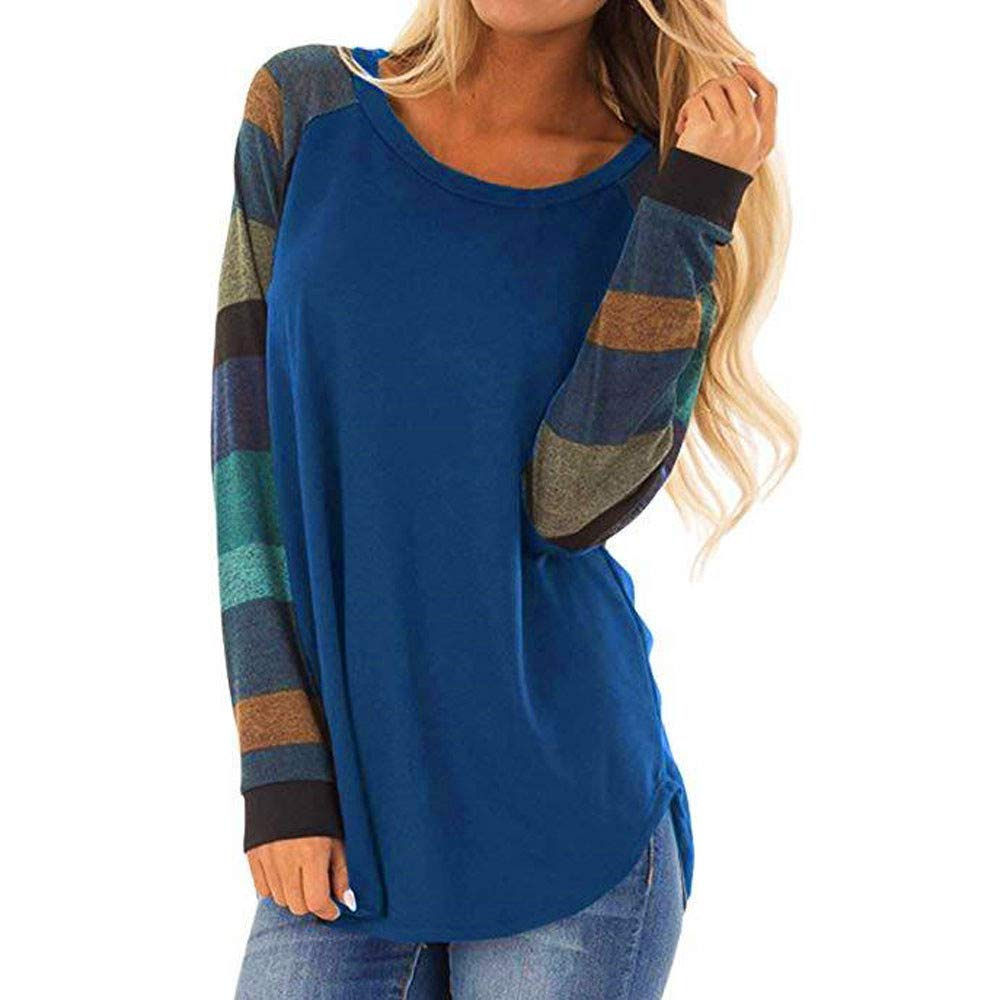 Clothing Fashion Women Stripe O-Neck Casual Top T Shirt Ladies Loose Long Sleeve Tops Blouse Tunic Jumpers Long