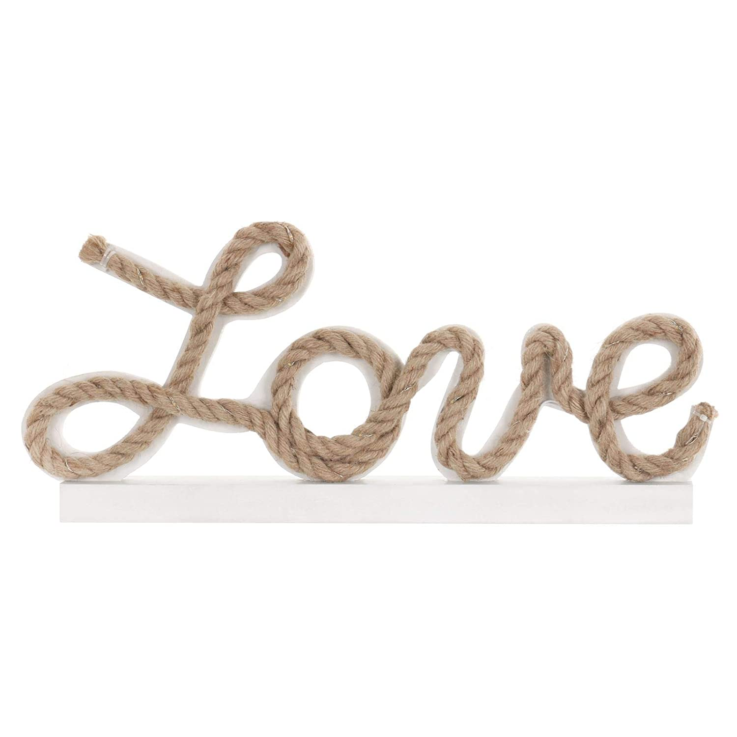 Mr Crimbo Decorative Love Light Up White Wooden Freestanding Sign With Rope And 35 Warm White LED Lights