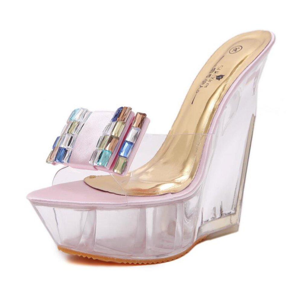 Zapatos de Mujer 2018 New Spring Summer Club Zapatos Light Up Zapatos Talones Plataforma de Tacón de Cuña Talón de Cristal para la Parte de la Boda 37 EU Segundo