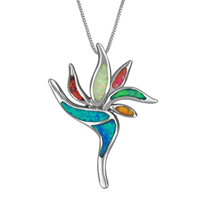 Sterling silver synthetic multi colored opal bird of paradise sterling silver synthetic multi colored opal bird of paradise pendant necklace 182quot aloadofball