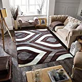 Cheap Gloria Rug Super Soft Indoor Modern Shag Rug Silky Smooth Rugs Fluffy Shaggy Area Rug – Stain Resistant Dining Room Home Bedroom Living Room Carpet (8 x 10, Brown Rain Drop Design 1021)