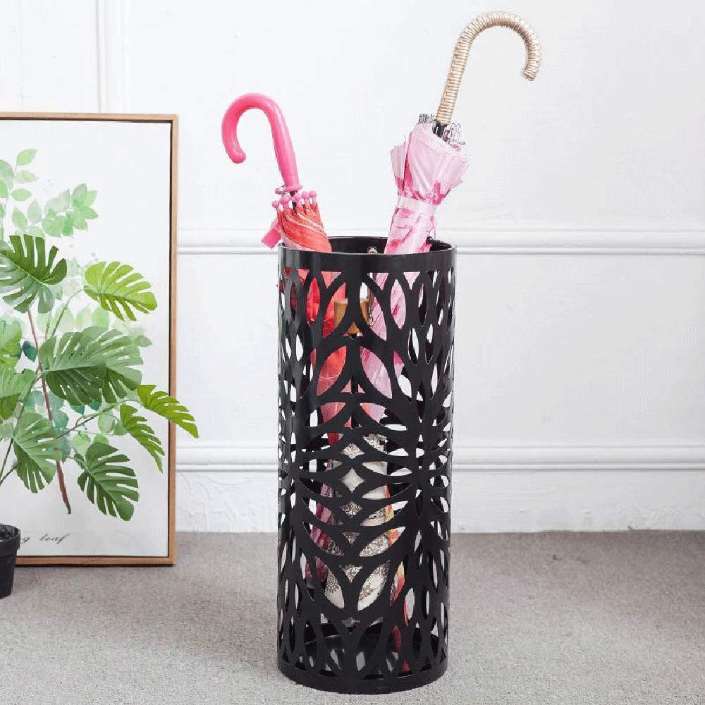 IRONWALLS Umbrella Stand Rack Entryway Holder Black with Drip Tray Hooks for Walking Sticks Canes Home Office Decor