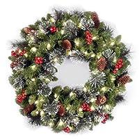 Árbol nacional Corona de abeto Crestwood de 24 pulgadas con cerdas de plata, conos, bayas rojas y 50 luces claras (CW7-306-24W-1)