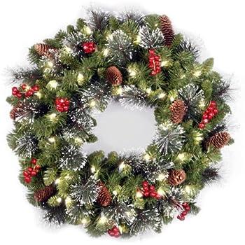 Amazon Com Cordless LED Pre Lit Cone Berry Christmas Wreath  - Christmas Wreath Lights