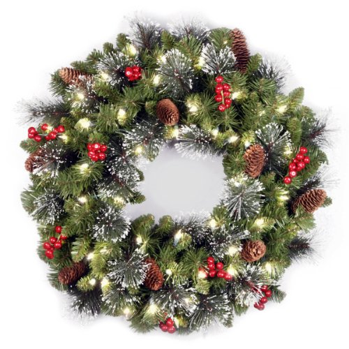 National Tree 24 Inch Crestwood Spruce Wreath with Silver Bristles, Cones, Red Berries and 50 Clear Lights (CW7-306-24W-1) Christmas Wreaths