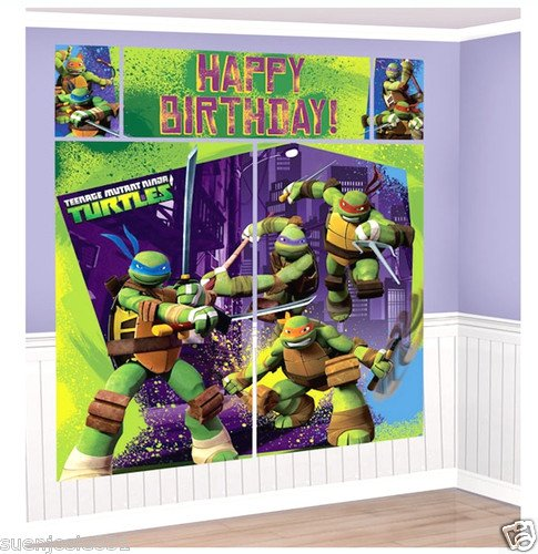 Teenage Mutant Ninja Turtles Scene Setter Set with 2 Large Posters, 2 Small Posters and Happy Birthday -