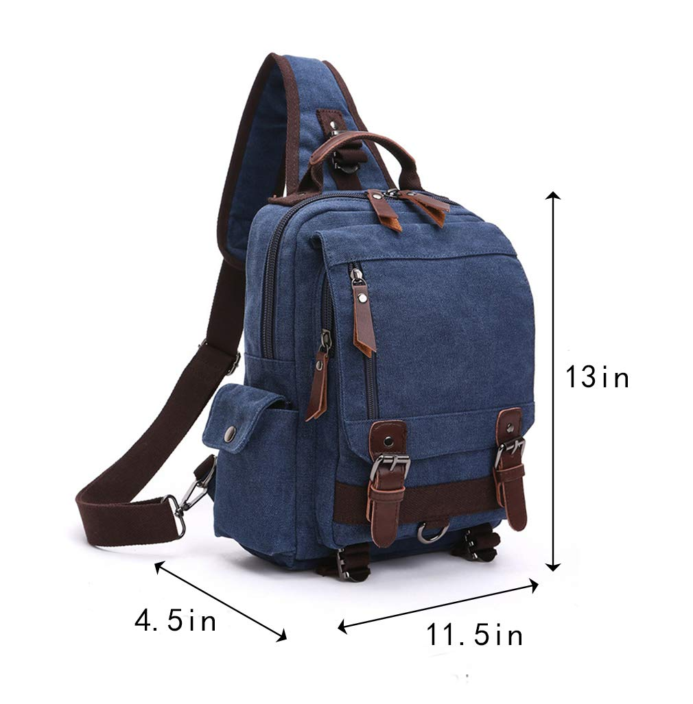 Retro Canvas Shoulder Backpack Travel Rucksack,Cross Body Messenger Bag Unisex Blue
