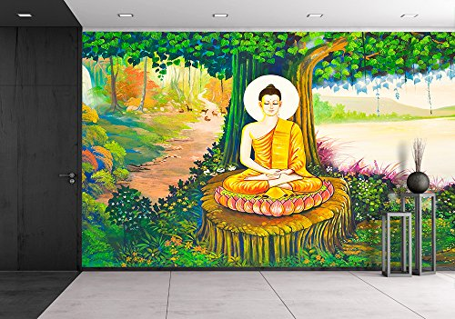 wall26 - Traditional Thai Style Painting Art on Temple Wall,Thailand.Generality in Thailand - Removable Wall Mural | Self-adhesive Large Wallpaper - 66x96 inches by wall26
