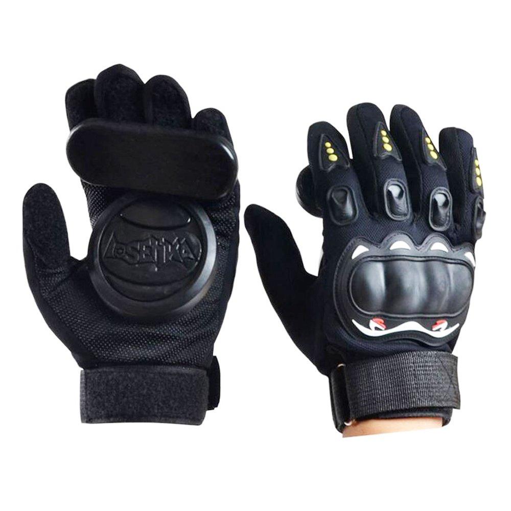IMPORX Standard Longboard Downhill Slide Gloves Skate Gloves with 2 Set Replaceable Slider Puck Set - Black