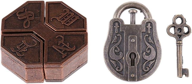 non-brand Cerradura Nudo Puzzles Metal Brain Teaser IQ Juguetes para Adulto Niño - Caja + Cerradura + Llave: Amazon.es: Juguetes y juegos