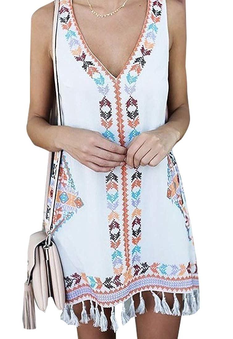 Beloved Womens Boho Floral Sleeveless Dress V Neck Mini Beachwear Sundress