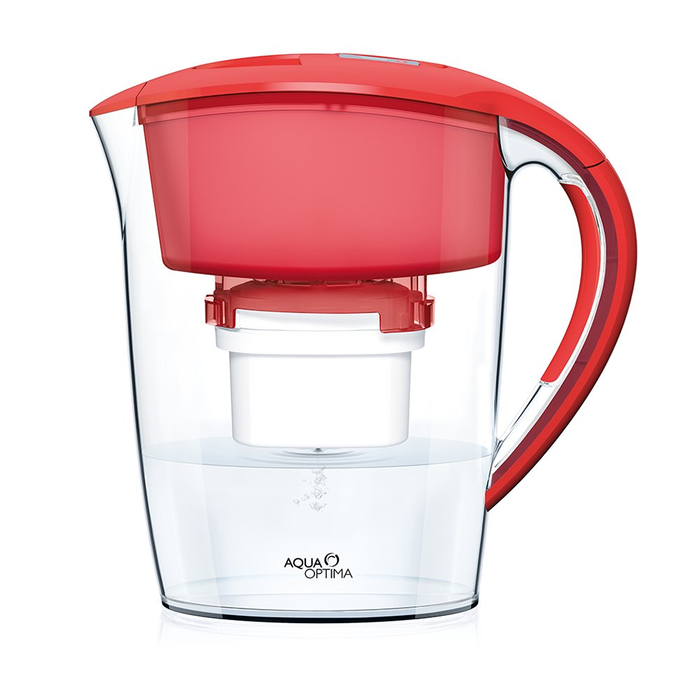 Amazon.com: Aqua Optima U0027Minerva Plusu0027 Water Filter Pitcher Chili Red With  1x 60 Day Evolve Filter, 2 Month Pack: Kitchen U0026 Dining