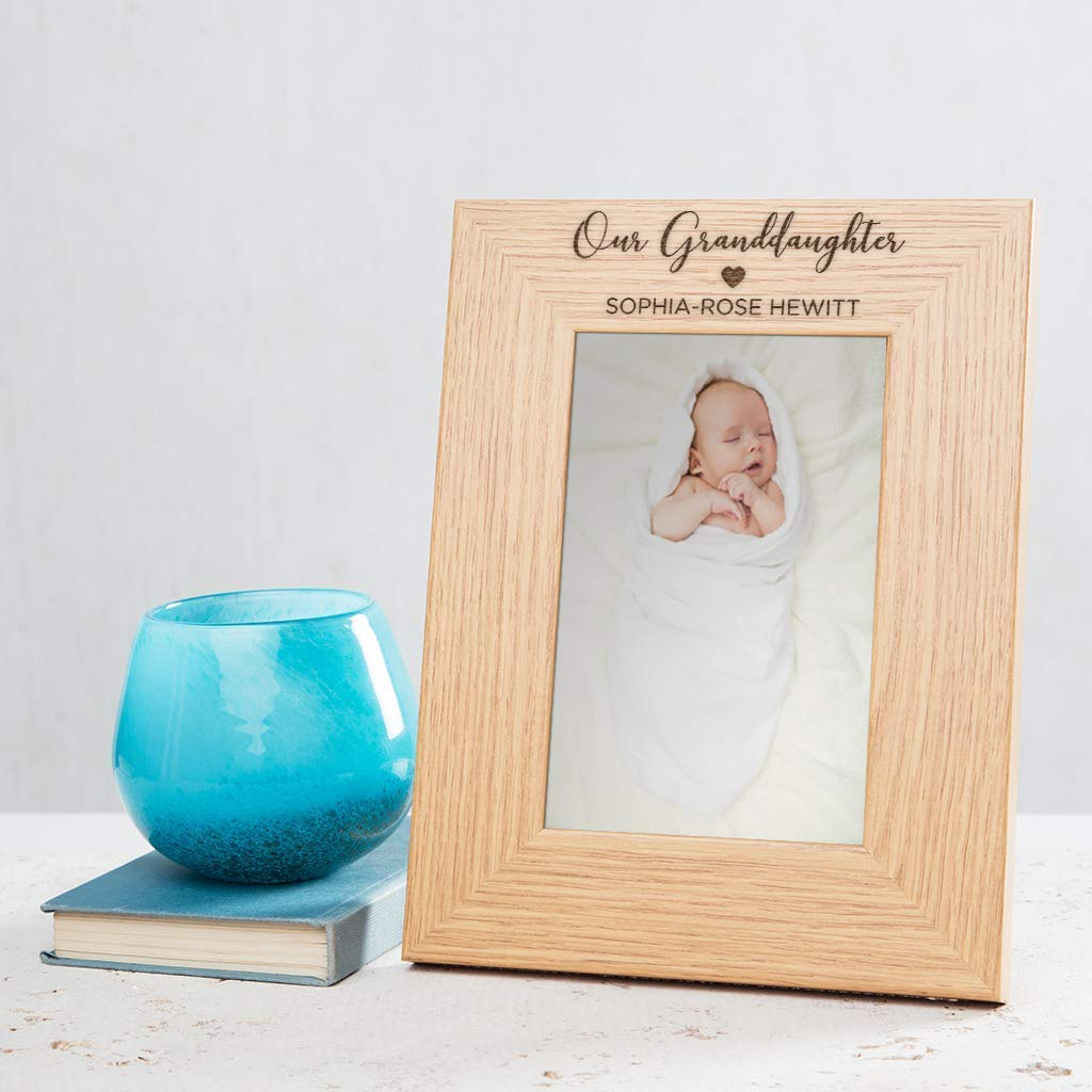 Personalized Our Granddaughter Picture Frame 4x6 7x5 8x6 available Granddaughter Gifts From Grandma Grandpa Grandparents for Birthday Unique Engraved Oak Veneer