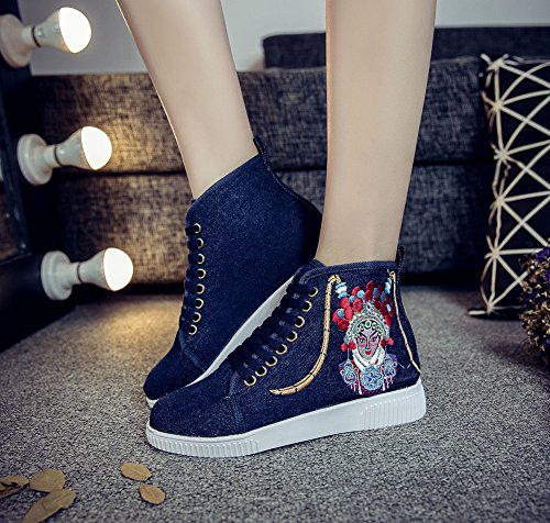 Avacostume Vrouwen Peking Opera Borduurwerk Rubber Flats Enkel Sneaker Schoenen Blauw