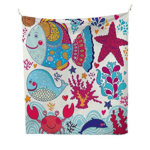 Whalespace tapestryFunny Fishes Starfish Coral Crab Underwater Life Waves Marine Clipart Illustration 54W x 84L inch Wall Hanging tapestryMulticolor