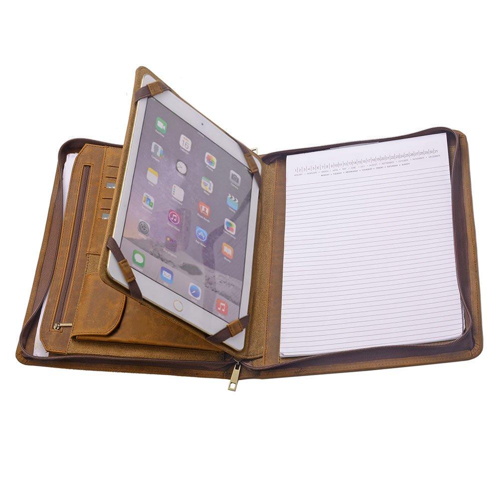 iPad Portfolio Case, Organizer Padfolio with Large Pouch Pocket, for 12.9 inch iPad Pro,Brown