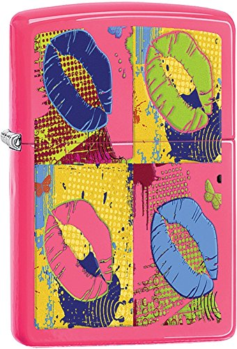 (Zippo Neon Lips Pocket Lighter, Neon Pink)
