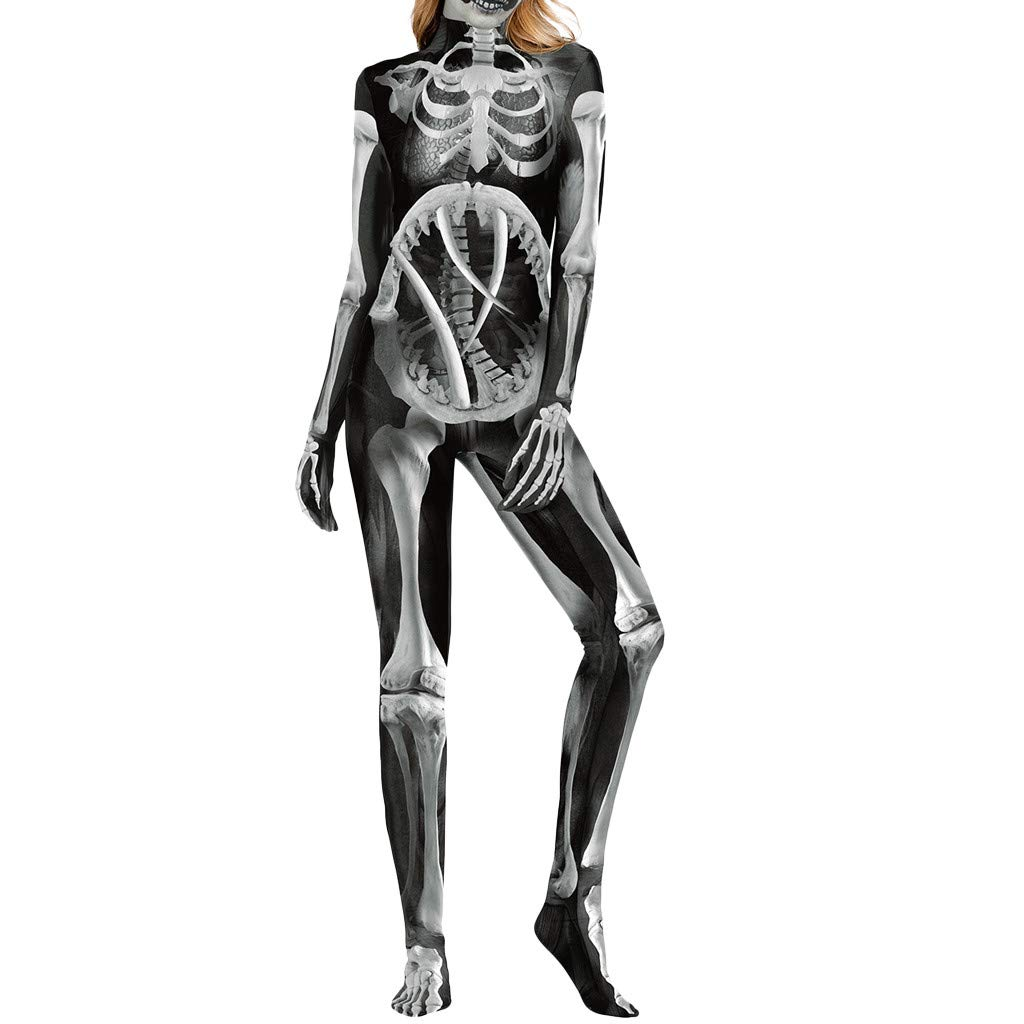 Women Halloween Stretchy Comfortable Tights Bodysuit Long Sleeve Zipper Back Garment Catsuit Smooth Skeleton Skull Print by QQ1980s