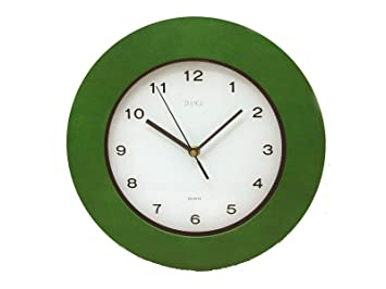 0 www.working-house.com (Decoración / Relojes) RELOJ PARED REDONDO SIN CRISTAL MADERA MARCO VERDE: Amazon.es: Hogar