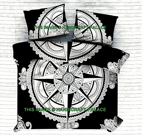 Exclusive Queen Size Compass Print Duvet Cover With Pillow Case 3 Pcs Set,Black & White Mandala Cotton Indian Handmade Doona Cover Comforter Bohemian Quilt Cover Set By Handicraft-Palace