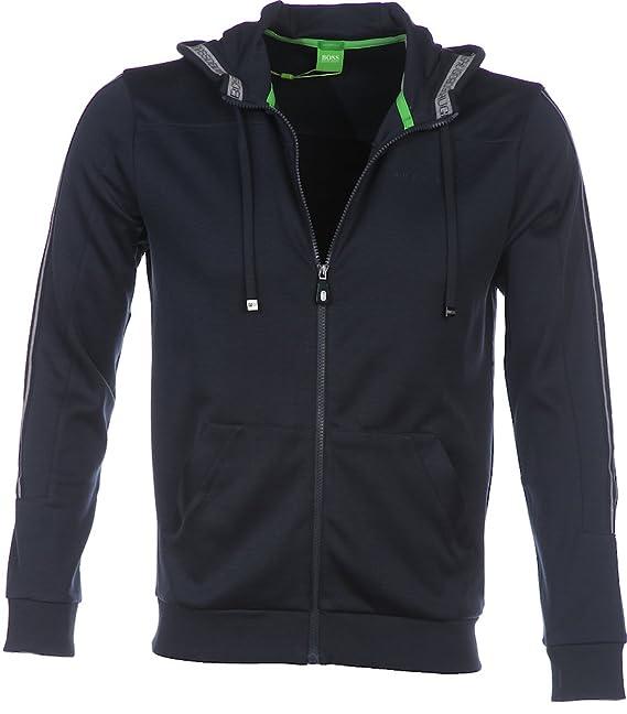 314258d53 BOSS Hugo Green Hooded Sweatshirt, Grey 'Saggy' Zipped Hoodie: Amazon.co.uk:  Clothing
