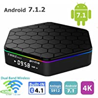 Android TV Box,T95Z Plus Android 7.1 TV Box Amlogic S912 Octa-Core 2GB/16GB 4K 1080P 2.4/5G Dual-Band WiFi Set-Top Box