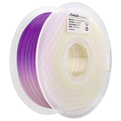 AMOLEN Impresora 3D Filamento PLA 1.75mm, Cambio de Color UV/luz solar a