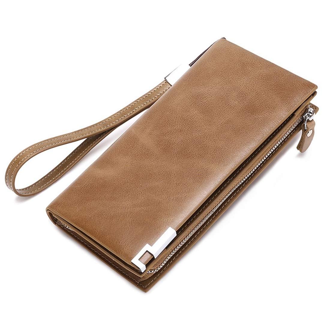 Color : Brown KRPENRIO Leather Mens Purse Long Wallet Youth Cowhide Wallet Zipper Wallet Khaki 2-Fold Wallet