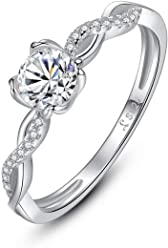 26ca9e35a Presentski 4 Prong CZ Solitaire Ring 925 Sterling Silver Cubic Zirconia  Promise Engagement Wedding Anniversary Infinity
