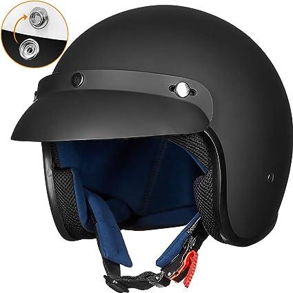 ILM 3//4 Open Face Motorcycle Helmet DOT Approved Retro Half Casco Fit Men Women ATV Moped Scooter Cruiser