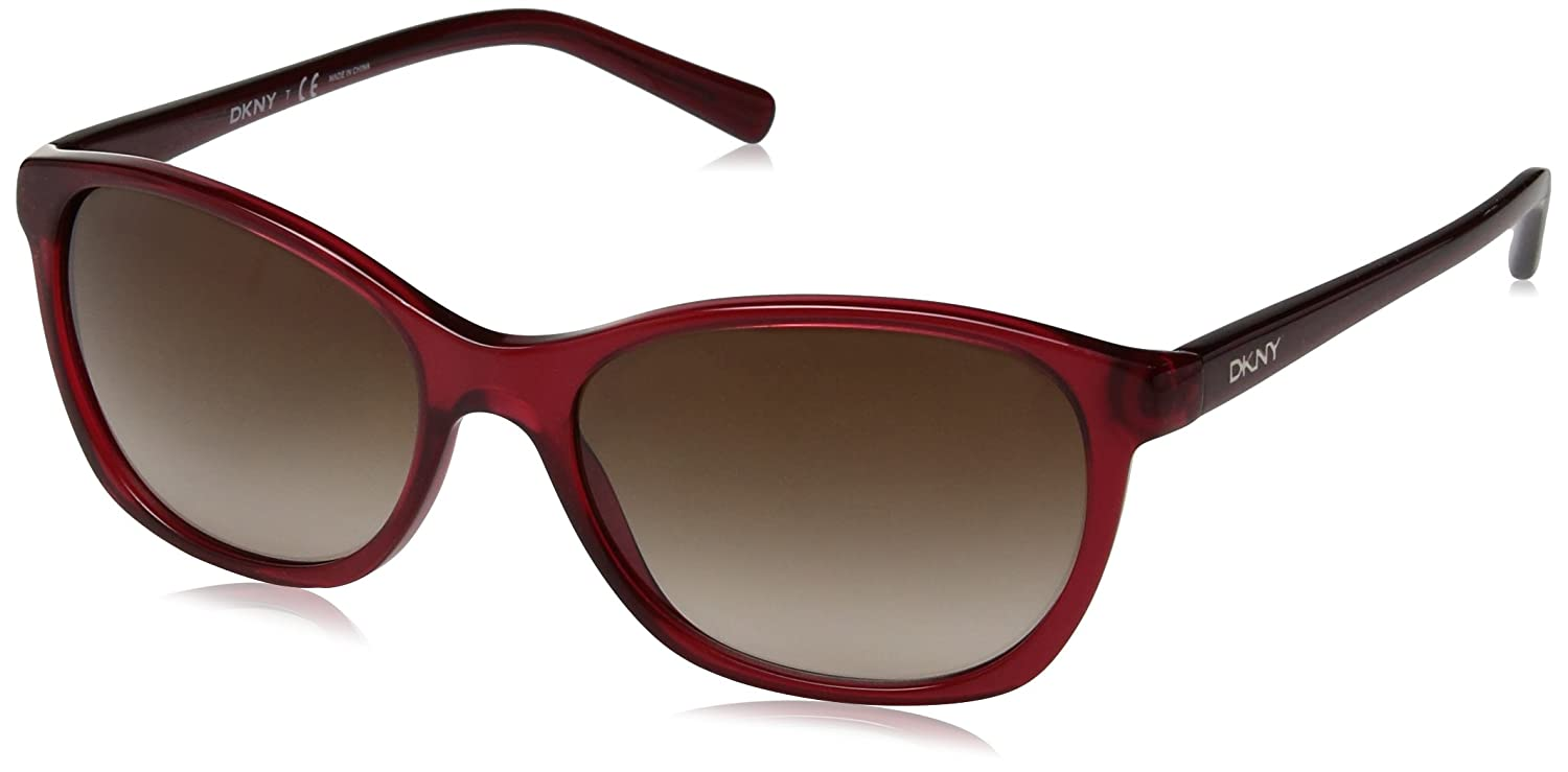 DKNY Women's Plastic Woman Sunglass Square, BURGUNDY 56 mm