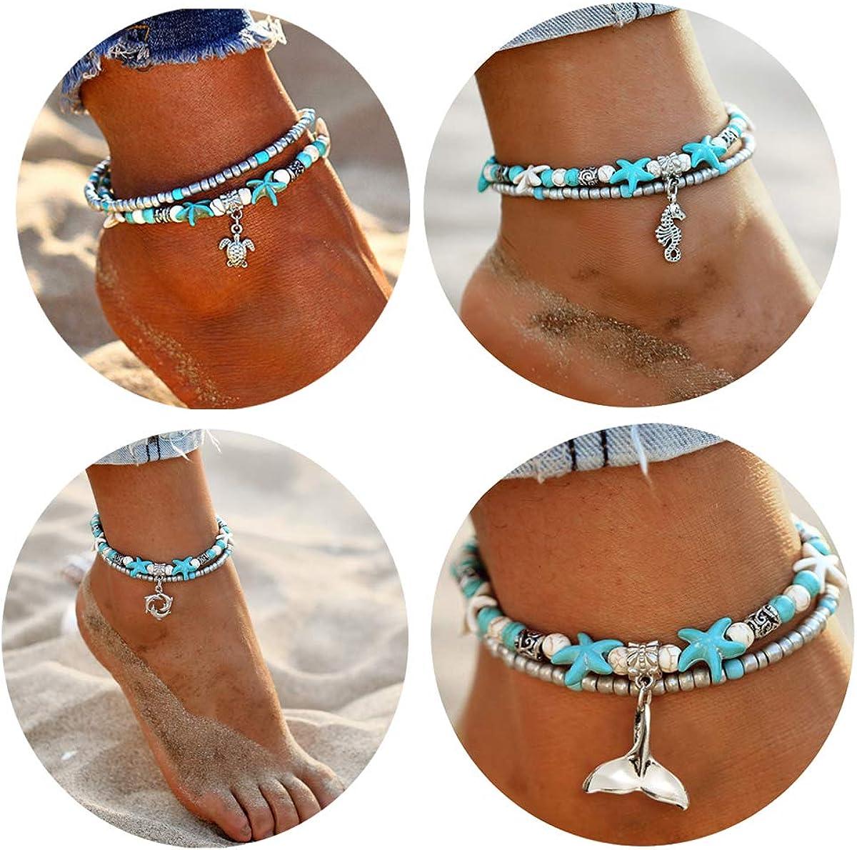 Gift for Her Blue and Light Green Beaded Anklet Blue /& Silver Anklet Pastel Coloured Glass Bead Anklet Anklet Resort Style Anklet