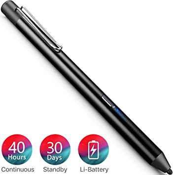 Black 08 CLEAR-S Rechargeable Capacitive Active Screen Stylus Pen Drawing Pen for iPad Pro//2//3//4//mini//Air Tablet PC