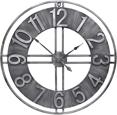 YIDIE 30 inch Large Wall Clock Decorative Solid Metal Retro Decor