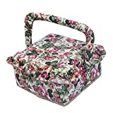 SAXTX Vintage Ruffled Floral Print Fabric Sewing Basket With Handle & Removable Tray, 129 Pcs Sewing Kit Accessories,7.6''x7.6''x4.5''(Red)