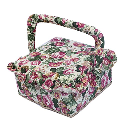 "SAXTX Vintage Ruffled Floral Print Fabric Sewing Basket with Handle & Removable Tray, 129 Pcs Sewing Kit Accessories,7.6""x7.6""x4.5""(Red)"