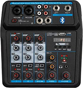 Professional Wireless Audio Mixer Sound Board-4 Channel Digital Bluetooth Computer Compatible Input DJ Controller Sound Mixer 48V Phantom Power Microphone in, Stereo DJ Streaming (M4)