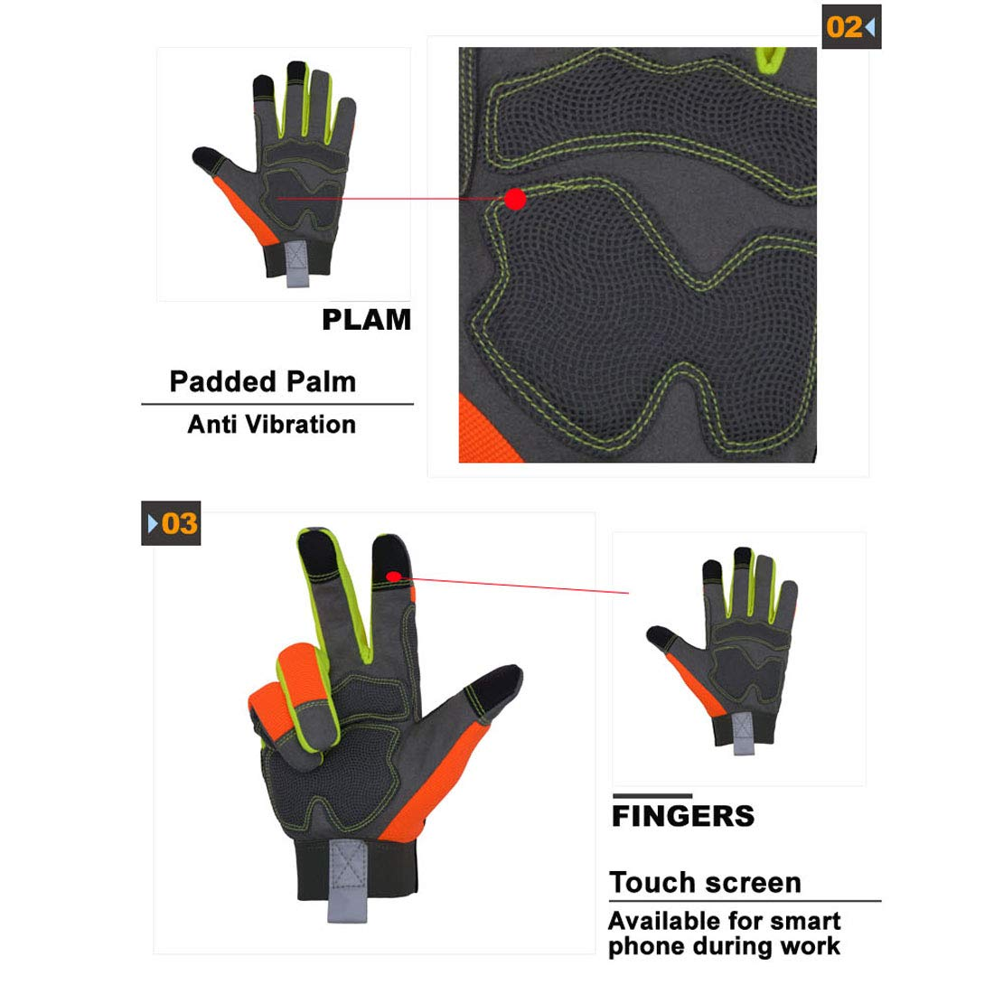 Hi Viz sicurezza Rigger Rescue work touchscreen guanti con dita