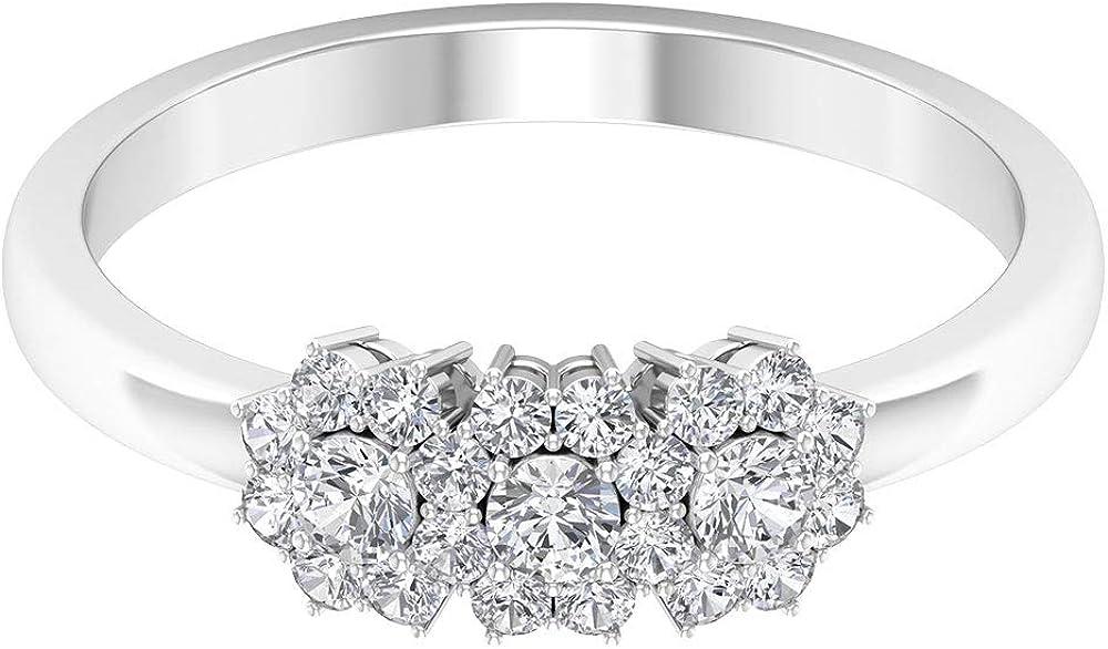 Anillo de diamante certificado SGL de 0,49 ct, clásico de tres piedras, flor, anillo de novia, declaración de aniversario de boda, anillo de oro, único para mujeres, 14K Oro