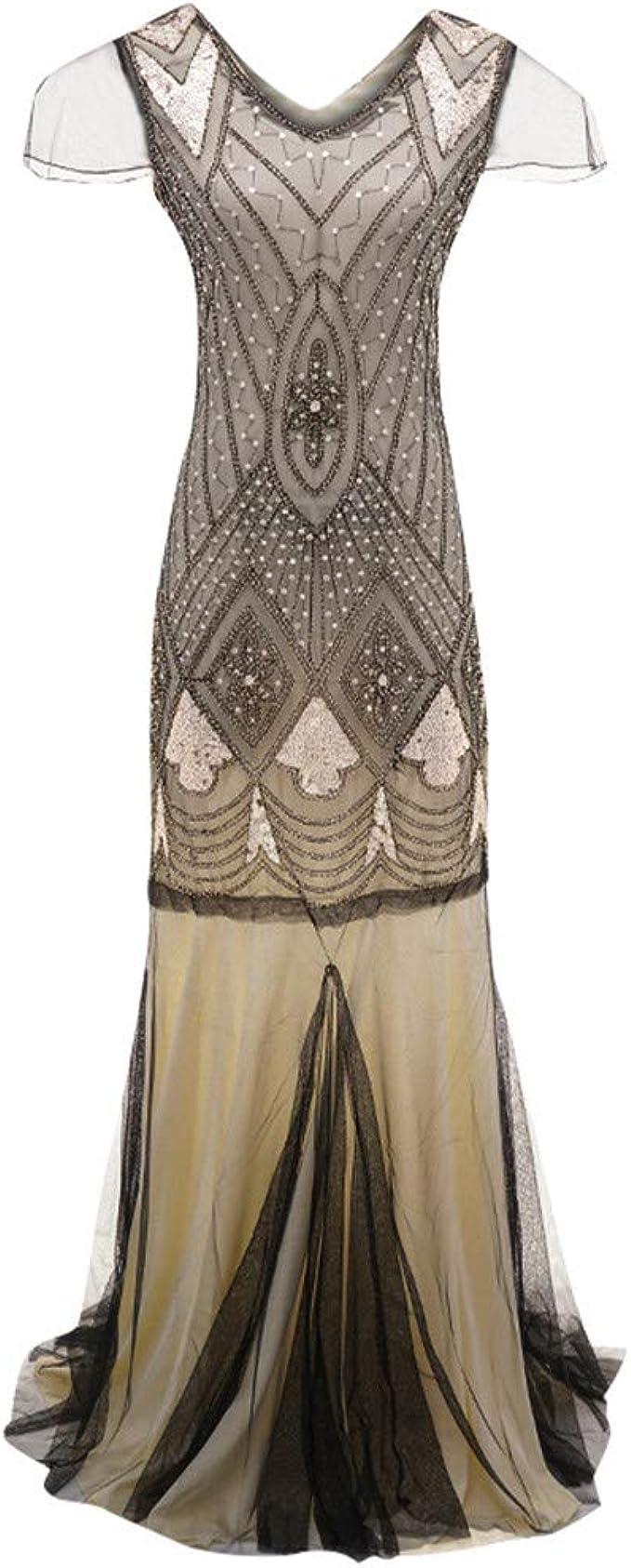 AmyGline Lange Kleider Damen Maxikleid 12er Vintage Inspirierte